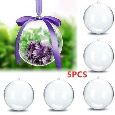 5X Clear Plastic Ball Baubles Sphere Fillable Christmas Tree Ornament Xmas Decor • 3.49£