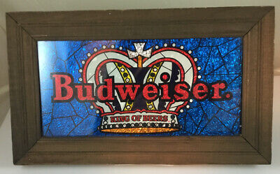 $ CDN38.15 • Buy Vintage Budweiser King Of Beers Crown Sign Framed Art Glass Beer