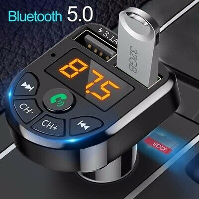 Wireless Bluetooth 5.0 Handsfree Car FM Transmitter MP3 Player 2 USB Charger Kit • 6.98£