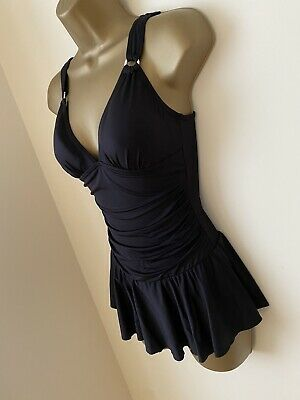 M&s ~ LADIES ALL BLACK PADDED SHIRRED SKIRTED SWIMDRESS SWIMSUIT ~ SIZE 8  • 18£