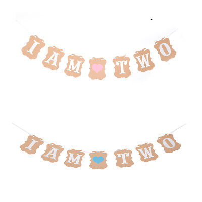 AU13.64 • Buy I Am Two Kraft Paper Banner 2 Years Birthday Boy Girl 2nd Party Decor Buntin.f