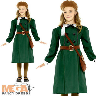 Wartime Girls Fancy Dress British Book Day 40s 1930s Childs Kids Costume Outfit • 9.99£