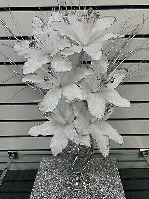 Silver Bling Glittery Mosaic Mirror Decorated 30cm Vase With White Flowers • 29.99£