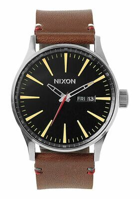 £66.55 • Buy Men's NIXON SENTRY A105019 Day Date 42mm Brown Leather Band Watch Brand New