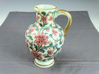 $65 • Buy Antique Custard Glass Pitcher With Embossed Enameled Pink Flowers And Blue Vines