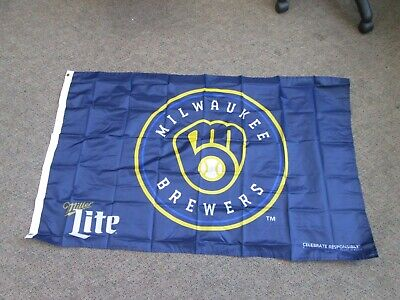 $7.90 • Buy Milwaukee Brewers Miller Lite Beer Flag Banner 30x48 New Sealed Promotional