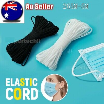 AU21.53 • Buy 3-6mm DIY Round Elastic Thin Band Soft Cord Face Mask Strap Sewing Rope 5-265M