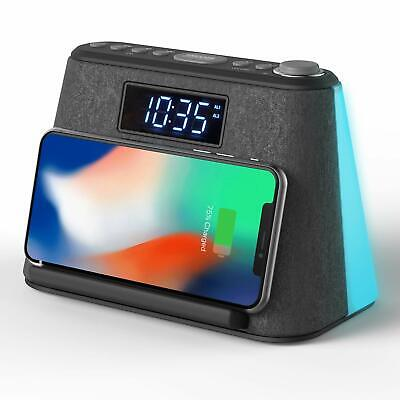 Alarm Clock Bluetooth FM Radio Non Ticking With USB & Wireless QI Charger • 46.99£