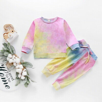 Baby Girls Tie-dye Long Sleeve T-shirt Tops Long Pants Outfits Set Age 1-5 Years • 8.89£
