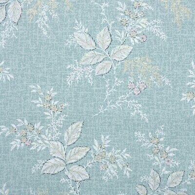 1950s Vintage Wallpaper Botanical With White Leaves And Flowers On Blue • 42.98£