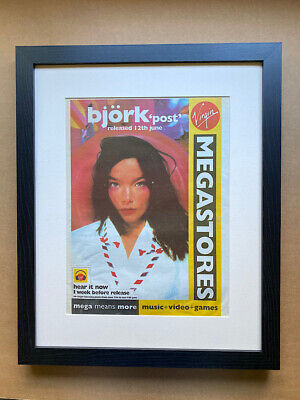 BJORK POST (FRAMED) POSTER SIZED Original Music Press Advert From 1995 - The Pap • 70£