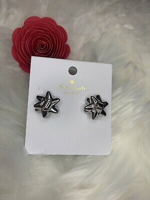 $ CDN29.07 • Buy Authentic Kate Spade New York Silver Bourgeois Bow Stud Earrings