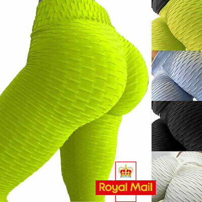 Women Yoga Gym Anti-Cellulite Leggings Fitness Solid Butt Lift Elastic Pants UK • 13.68£