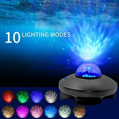 Star Projector Night Light 2 In 1 Starry Music Ocean Wave Projector Lamp Party • 18.99£