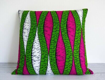 African Wax Print Cushion Cover, Pink, Green, White • 16£