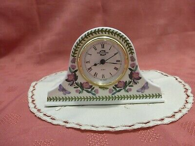 White Floral PORTMEIRION Botanic Garden Napoleon Mantle Clock - 4.25 Inches High • 24.99£