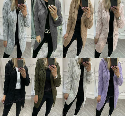 Women's Ladies Chunky Cable Knitted Oversized Longline Hooded Cardigan Cape Top • 19.90£