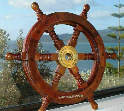 £38.01 • Buy 18  Durable Wooden Brass Ship Wheel For Nautical Pirate Themed Home Decor