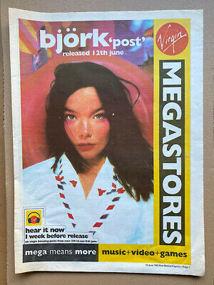 BJORK POST POSTER SIZED Original Music Press Advert From 1995 - Printed On Newsp • 11£