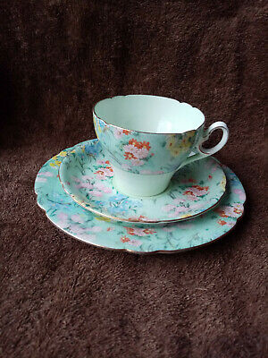 Shelley Gilded Cambridge Half Melody Chintz Cup Saucer Plate Trio C.1940-1966 • 65£
