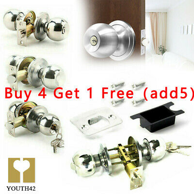Stainless Steel Round Knobs Privacy Passage Entrance Lock Door Entry With Key • 5.89£