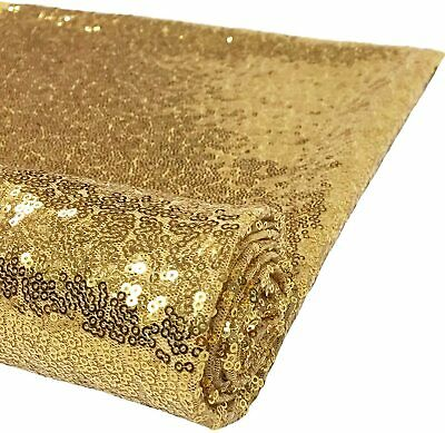 £7.99 • Buy Gold Sequin Sparkly Shiny Bling Glitter Décor Dress Craft Fabric By Meter 50