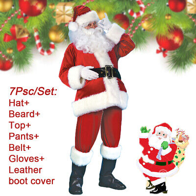 Mens Santa Claus Costume Suit Adult Father Christmas Fancy Dress Cosplay Outfit • 6.09£