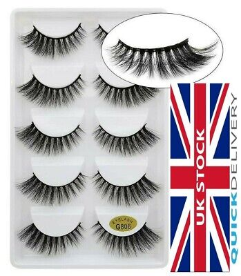 5Pair 3D Mink False Eyelashes Wispy Cross Long Thick Soft Fake Eye Lashes G-806 • 3.99£