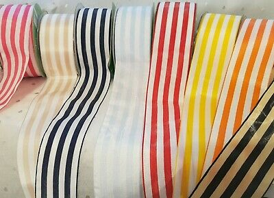 £2.55 • Buy May Arts - COLOUR & WHITE Solid Stripe Satin Ribbon - 50mm - 11 Colours  **NEW**