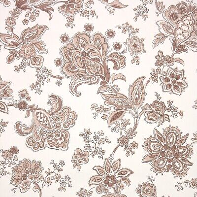 £25.36 • Buy 1950s Paisley Floral Vintage Wallpaper Brown And White Paisley Flowers