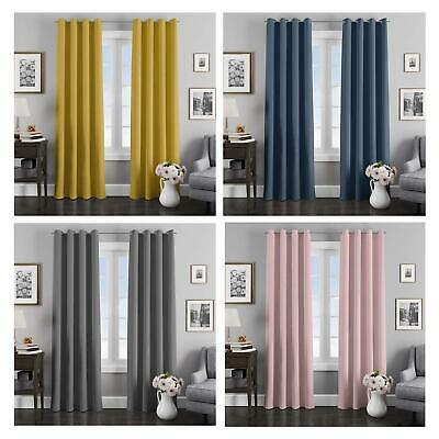 Eyelet Curtains Thermal Blockout Ring Top Curtain Pairs Ochre Grey Navy Blue • 14.20£