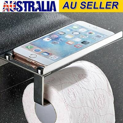 AU8.99 • Buy Stainless Steel Toilet Paper Roll Holder Storage + Phone Shelf Bathroom Washroom