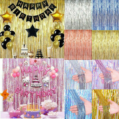 2-3M Foil Fringe Tinsel Shimmer Curtain Door Wedding Birthday Party DECORATIONS • 2.98£