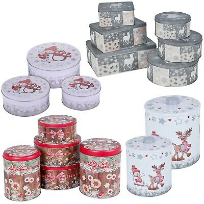 Christmas Jars Storage Tin Container Tea Cookie Biscuit Sweet Canisters Xmas NEW • 10.49£