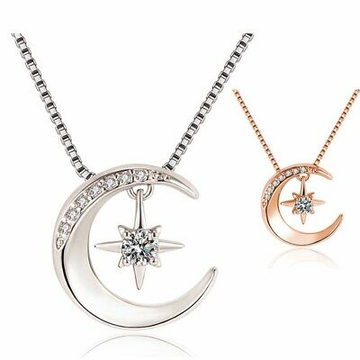 925 Sterling Silver Moon Star Hanged Pendant Chain Necklace Women Jewellery Gift • 3.49£