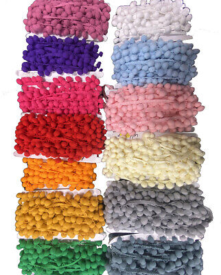3 Metres Pom Pom Trim - 1cm Diameter - Sewing & Craft Projects - 12 Colours • 5£