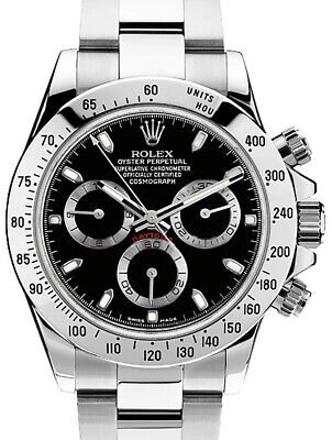 $ CDN27420.11 • Buy Rolex Daytona Chronograph Steel Black Dial Mens Watch & Box 116520