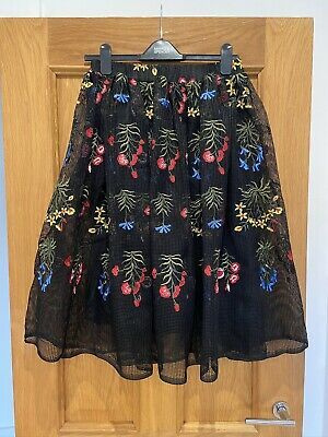 Women's Rare London Limited Edition Black Net Floral Embroidered Skirt UK 12 • 20£