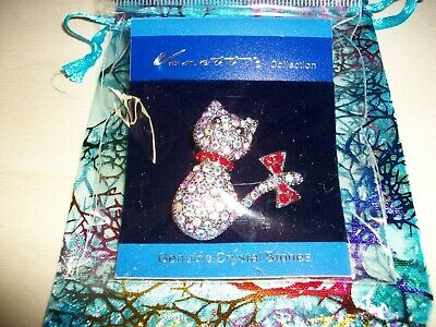CAT With Red Bow Diamante Genuine Crystal Stone Bling Brooch Pin Silver Colour • 3.99£