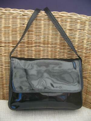 Vintage JANE SHILTON Black Patent Leather Shoulder Bag In Good Condition • 5.50£