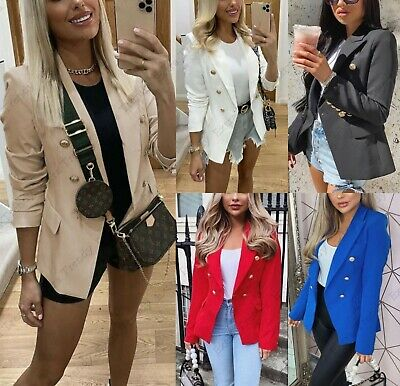 Women's Ladies Gold Button Double Breasted Padded Shoulder Blazer Jacket Outwear • 22.95£