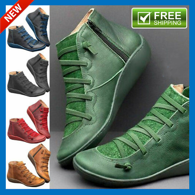 Womens British Premium Orthopedic Strap Ankle Boots Shoes New Arch Support Boots • 24.99£
