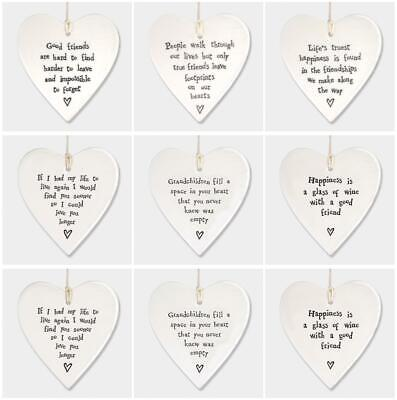 East Of India Hanging Porcelain Heart White Keepsake Gift Family Friends Quote • 5.95£