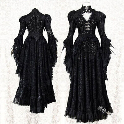 £56.99 • Buy Medieval Gothic Women Lace Dress Victorian Gown Vampire Witch Halloween Costume