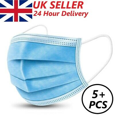 3ply Face Mask Disposable Medical Surgical Covering Aarton Protective Guard Uk • 5.95£