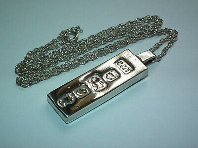 "Lovely Looking Vintage 1977 Queens Jubilee Solid Silver Ingot, Silver 18"" Chain • 20.50£"