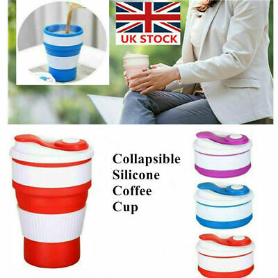 350ML Custom Coffee Mugs Plastic Folding Cup Collapsible Travel Cup Silicone Mug • 5.59£