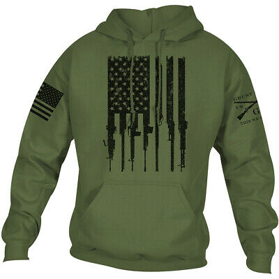 Grunt Style Rifle Flag 2.0 Pullover Hoodie - Military Green • 28.83£