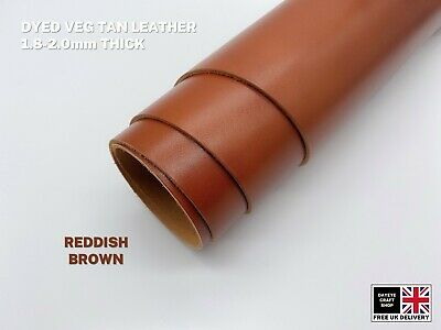 Dyed Veg Tan Leather Cowhide Craft 1.8-2mm Thick Reddish Brown • 3.50£