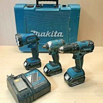 Makita DHP459 Brushless Combi Drill DTD152 Impact Torch DC18RC Charger BL1830 • 76£